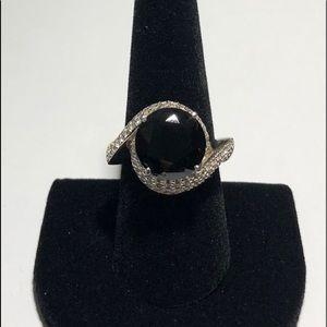 Black Spinal & White Topaz Silver Ring Sz 9